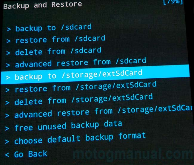 how to backup moto g